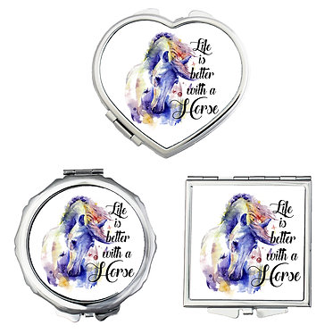Compact mirrors in 3 shapes heart, round and square life is better with horses image front view