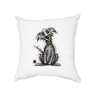 White cushion cover with zip scruffy dog image great gift idea front view