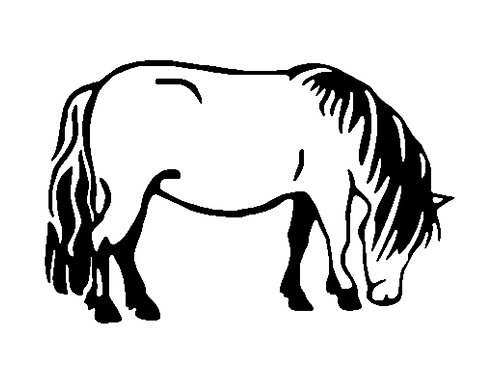 Mini pony horse decal sticker in black front view