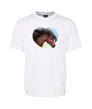 Adults white t-shirt 100% cotton with a bay horse in heart image on front