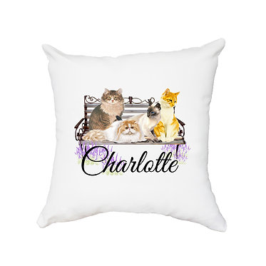 Personalized white cushion cover with zip 40cm x 40cm with name and cats on bench image front view