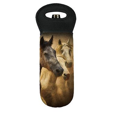 Wine cooler carry bag neoprene wild horses image front view