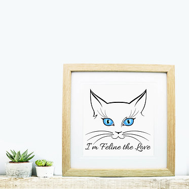 Square wood picture frame cat face image front view