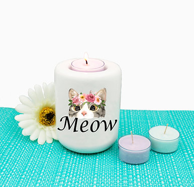 Cat ceramic tealight candle holder cat meow image front view