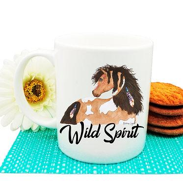 Ceramic coffee mug with wild spirit horse image front view
