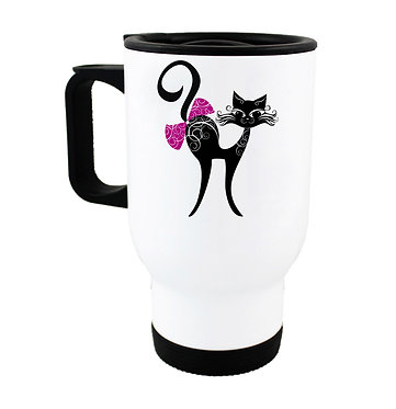 Travel mug black cat with bow image front view