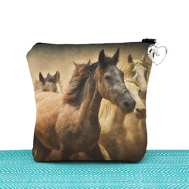 Cosmetic toiletry bag with zipper wild horses image front view