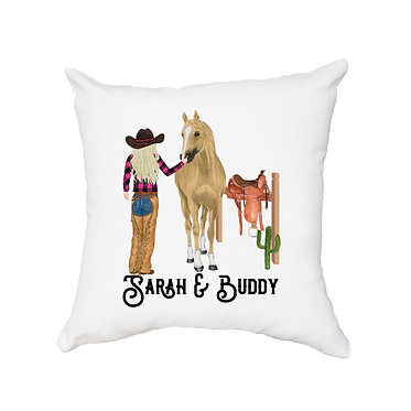 Personalised white cushion with zip blond haired cowgirl and horse image front view