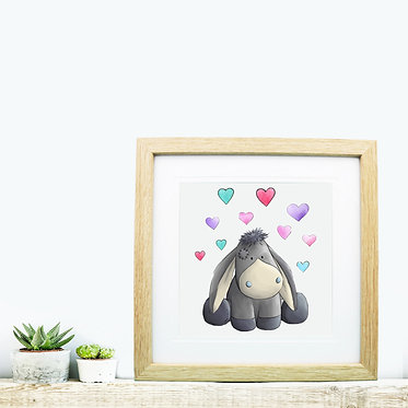 Square wood picture frame with donkey with hearts image front view