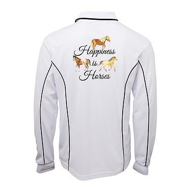 Adults long sleeve polo shirt white happiness is horses image back view