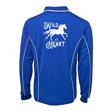 Adults long sleeve polo shirt royal blue white wild at heart horse image back view