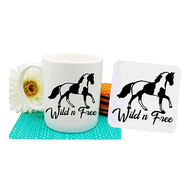 Coffee mug and drink coaster gift set paint horse wild n free image front view