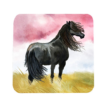 Neoprene drink coaster with black horse image front view