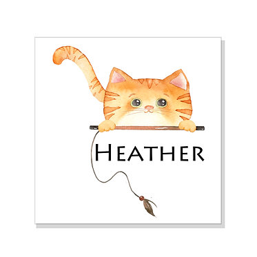 Square art print on card stock personalized with a cute ginger cat image front view