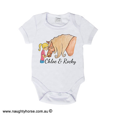 Personalized baby romper play suit white with horse and girl friendship image front view