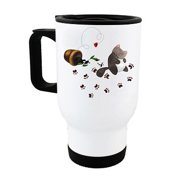 Travel mug messy cat with paw prints image front view