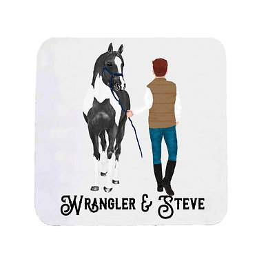 Personalised neoprene drink coaster sets personalised red haired man and horse pony image front view