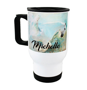 Personalised travel mug stainless steel angelic horse image front view