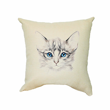 Tan cushion cover with zip 40cm x 40cm blue eyed kitten image front view