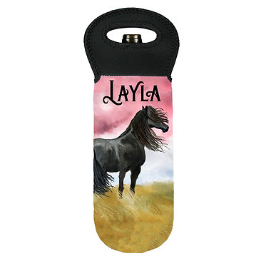 Personalised wine cooler carry bag neoprene black horse image front view