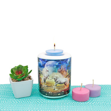 Ceramic tealight holder with two unicorns in water image front view