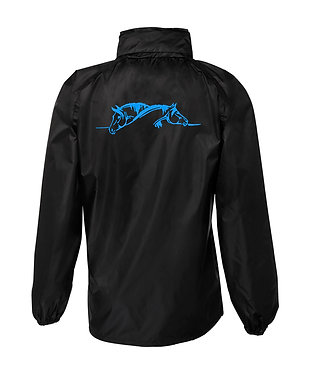 Black with blue horse image rain forest jacket back view