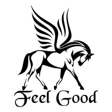 """Pegasus horse with quote """"feel good"""" vinyl decal sticker in black front view"""