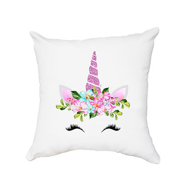 White cushion cover with zip unicorn face image front view