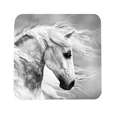 Neoprene drink coaster with black and white horse image front view