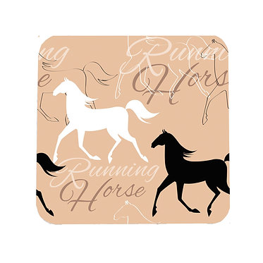 Drink coaster neoprene with horse pattern running horses front view