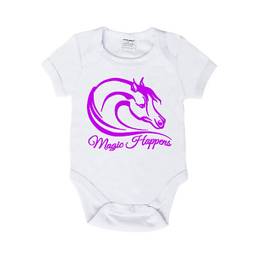 Baby romper play suit white with purple horse magic happens image front view