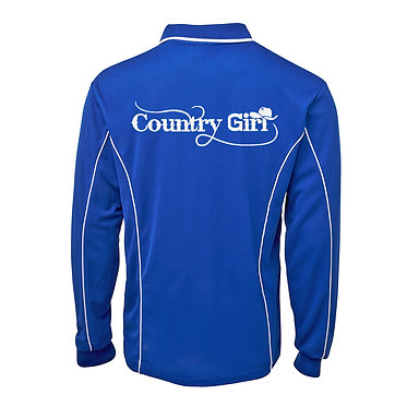 Adults long sleeve polo shirt royal blue white country girl image back view