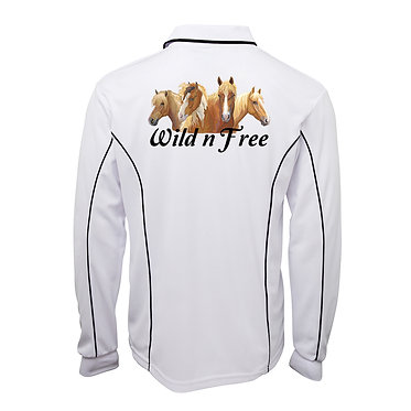 Adults long sleeve polo shirt white wild n free horses image back view