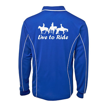Adults long sleeve polo shirt royal blue white love to ride with three horse riders image back view
