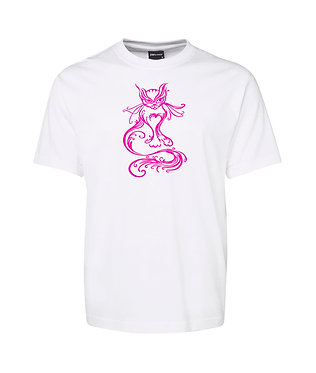 Adults t-shirt white with pink scroll cat image front view
