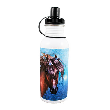 Stainless steel water bottle with fantasy horse image front view