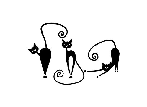 Three cats decal sticker in black front view