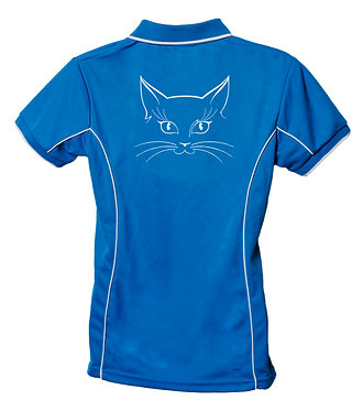 Ladies polo shirt aqua with white piping and cat face image back view