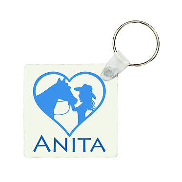 Square MDF wood key-ring girl and horse in heart blue image front view