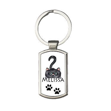 Personalized rectangle keyring cute black cat with name image front view