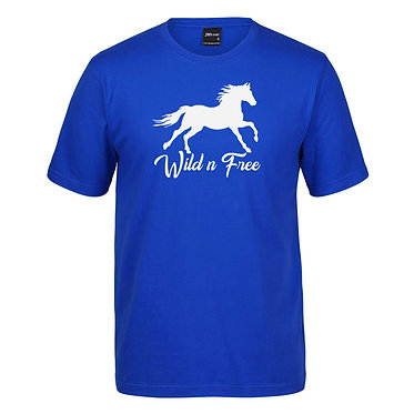Adults t-shirt royal blue with cantering horse wild n free image front view