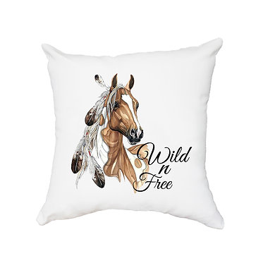 White cushion cover with zip paint horse wild n free image front view