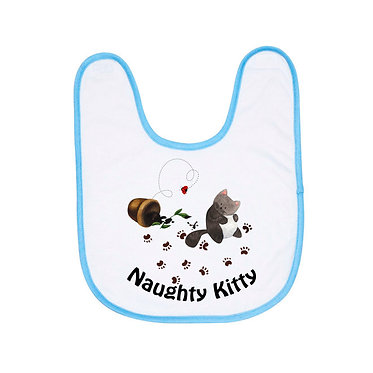 Babies bib with blue trim and naughty kitty image front view