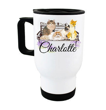 Travel mug with personalized cats on bench and name image front view