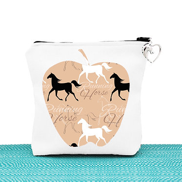 White cosmetic toiletry bag with zipper running horse pattern image front view