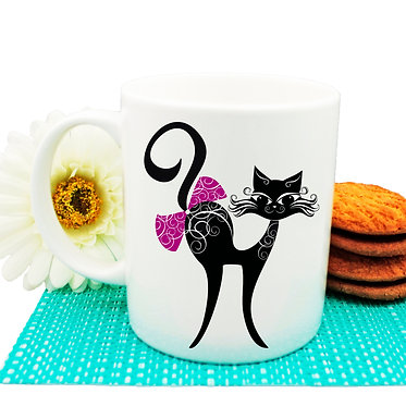 Ceramic coffee mug black cat with bow image front view