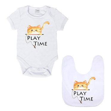Baby romper play suit white with white trim cute ginger cat play time image front view