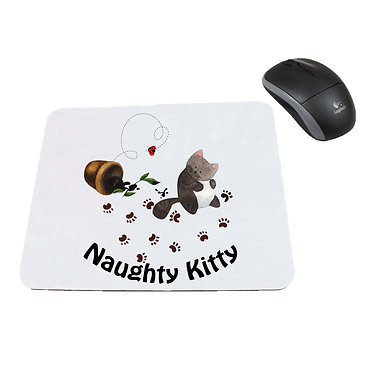 Neoprene computer mouse pad cute naughty kitty image front view