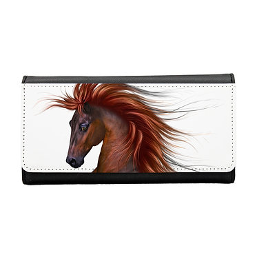 Ladies/girls purse wallet chestnut horse with flowing main image front view