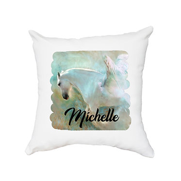 Personalised white cushion with zip angelic horse image front view